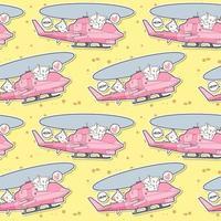 sömlös kawaii katt kör helikopter med vänner mönster vektor