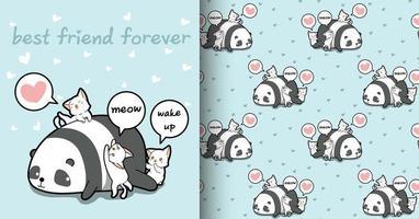 sömlös kawaii panda och katt tecken mönster vektor