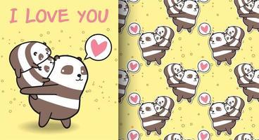 nahtloser kawaii panda und 2 baby pandas muster vektor