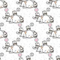 sömlös kawaii katt och panda karaktär mönster vektor