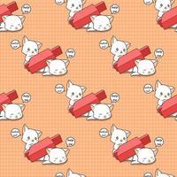 sömlös bedårande katt krossad av rött ljusstake mönster vektor