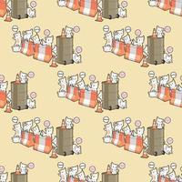 sömlösa kawaii kattkaraktärer med hinder mönster
