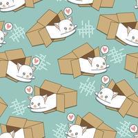 sömlös vit katt i rutmönster vektor