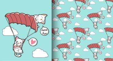 nahtlose kawaii Katzen, die mit Fallschirmmuster fliegen vektor