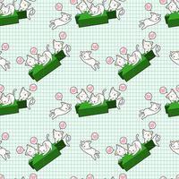 kawaii kattkaraktärer och grönt ljusstake mönster vektor