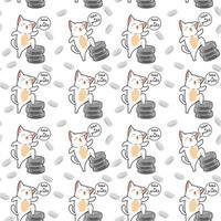 nahtlose kawaii Katze glücklich mit Silbermünzenmuster vektor