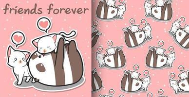 sömlös kawaii panda och katt tecknad mönster vektor