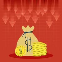 Geldsack mit Pfeilen nach unten, Börse stürzt ab