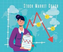 affärskvinna med börskrasch-ikonen vektor