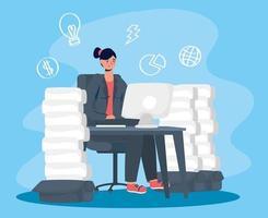 stressad kvinna med hjälp av datorn vektor