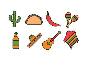 Mexiko ikonuppsättning vektor