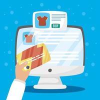 skrivbord med online shoppingteknik
