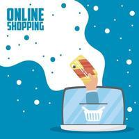 bärbar dator med online shopping och e-handelsteknik