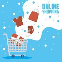 kundvagn för online shopping och e-handel