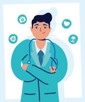 schöner männlicher Arzt mit medizinischen Ikonen vektor