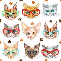 sömlösa mönster med fashionabla katter i glasögon vektor