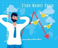 affärsman med börskrasch-ikonen vektor