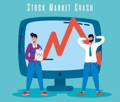affärsmän med börskrasch-ikonen vektor