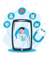 Online-Gesundheitstechnologie über Smartphone vektor