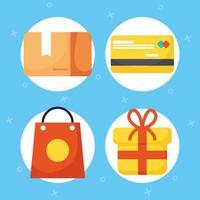 online shopping och e-handel Ikonuppsättning