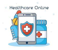 online sjukvårdsteknik via smartphone vektor