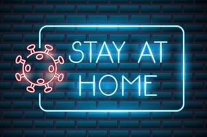zu Hause bleiben, Coronavirus Leuchtreklame vektor