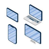 uppsättning isometriska ikoner för elektroniska enheter vektor