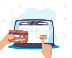Online-Zahlungstechnologie auf dem Laptop