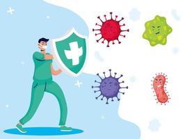 sjuksköterska som bekämpar virus serietecken vektor