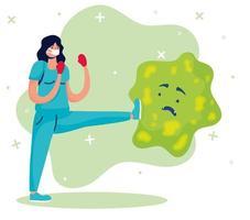 kvinnlig läkare som kämpar mot komiska karaktärer vektor