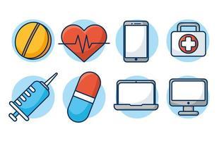 online sjukvårdsteknik ikonuppsättning vektor