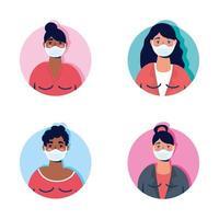grupp kvinnor som bär ansiktsmasker vektor