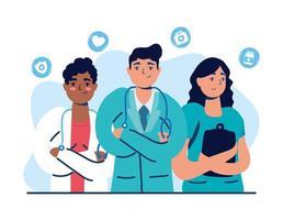 medizinisches Personal mit Ärzten und Krankenschwestern vektor