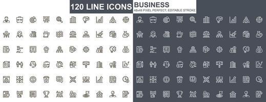 affärer tunn linje ikoner set