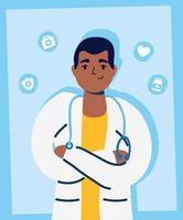 schöner männlicher Arzt mit medizinischen Ikonen
