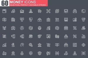 pengar tunn linje ikonuppsättning