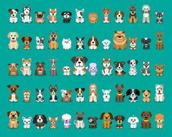 olika typer av tecknade sittande hundar
