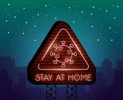 stanna hemma, coronavirus neonljusskylt