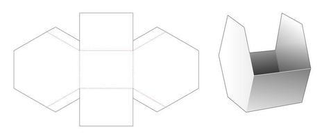Sechseckiger Snackbehälter aus Pappe gestanzte Schablone vektor