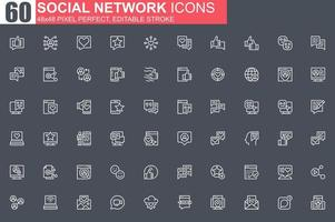 sociala nätverk tunn linje ikonuppsättning