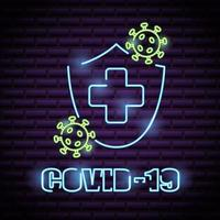 Stop Covid-19 Leuchtreklame vektor