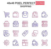 Shopping Thin Line Icon Set