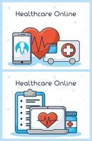online sjukvårdsteknik ikonuppsättning