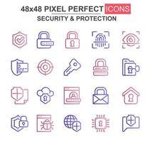 säkerhet och skydd tunn linje ikonuppsättning