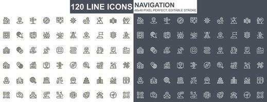 navigering tunn linje ikoner set vektor