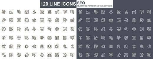 seo optimering tunn linje ikoner set