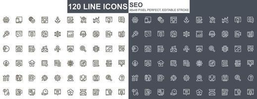 SEO-Optimierung dünne Linie Symbole gesetzt