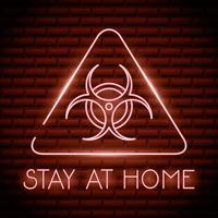 stanna hemma, coronavirus neonskylt vektor