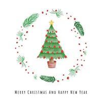 Weihnachtsbaum in Pflanzenkranz Aquarellkarte vektor