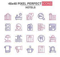 Hotels dünne Linie Icon Set vektor